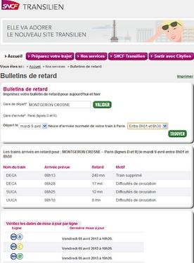 Bulletin de retard RER D SNCF