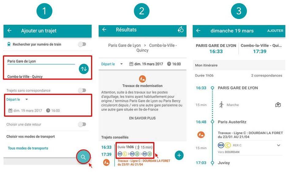 Rechercher votre itinéraire sur l'appli SNCF (captures Android)